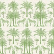 Fern Garden by Makower UK - 6283 - Palm Trees & Animals, Green on Off White - 2073_G - Cotton Fabric